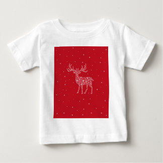 Reindeer - white on red baby T-Shirt