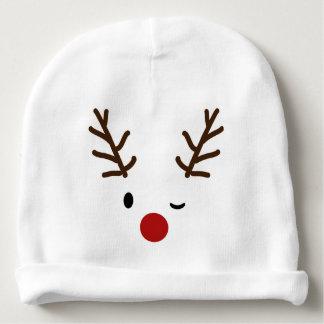 Reindeer Winking Christmas Baby Beanie cap