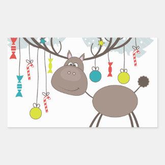 Reindeer Winter Seasons Greetings Rectangular Sticker