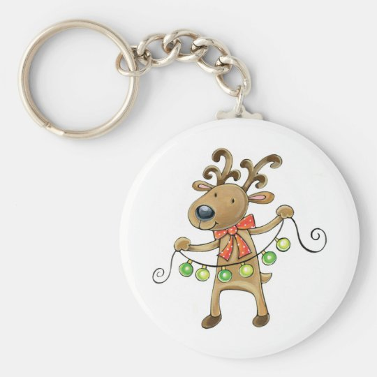 Reindeer with Christmas Lights Basic Round Button Key Ring