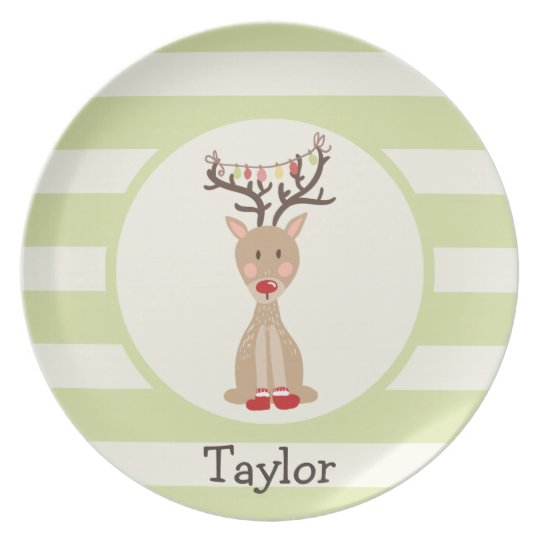 Reindeer with Christmas Lights; Light Green Plate