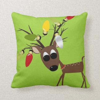 Reindeer With Christmas Tree Lights Cushion