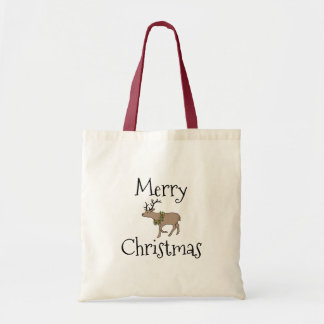 Reindeer with Christmas Wreath Christmas Tote Bag