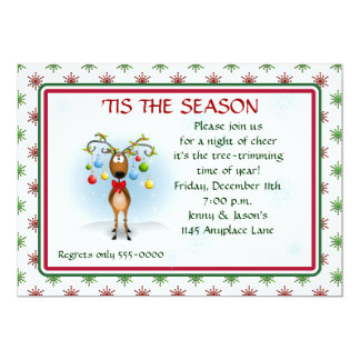 Reindeer with Ornaments Christmas Party Invitation