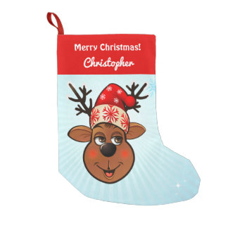 Reindeer With Red Santa Claus Hat Small Christmas Stocking