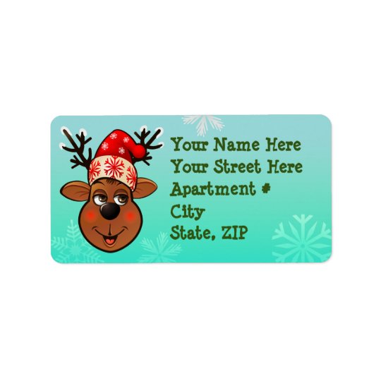 Reindeer With Santa Claus Hat Label