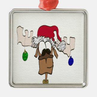 Reindeer with Santa hat ~ Ornament