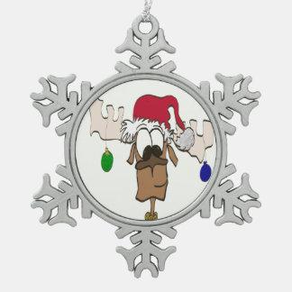 Reindeer With Santa Hat Pewter Ornament