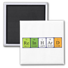 Magnet featuring the name Reinhard spelled out in symbols of the chemical elements