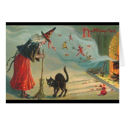 Reissue Victorian Witch & Cat Halloween Card