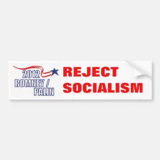 REJECT SOCIALISM Romney Palin - Customized Bumper Sticker