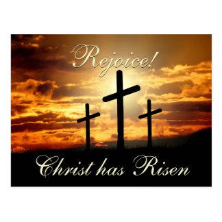 Rejoice! Christ has Risen, Easter Crosses Postcard