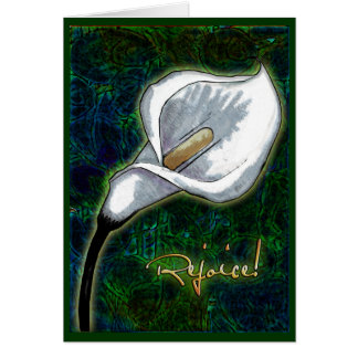 Rejoice! Elegant Easter Calla Lily Personalized Card