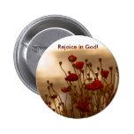 REJOICE Floral Design Pinback Buttons