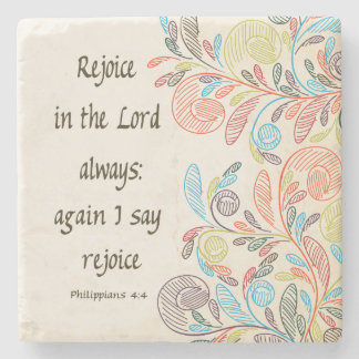 Rejoice in the Lord Coaster Stone Beverage Coaster