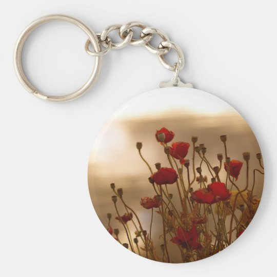 REJOICE Red Poppies Floral Design Key Ring