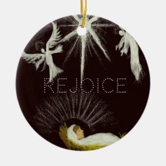 Rejoice! Round Ceramic Decoration