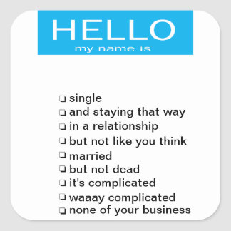 Relationship status name tag sticker