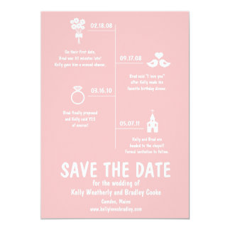 Relationship Timeline Save the Date 13 Cm X 18 Cm Invitation Card