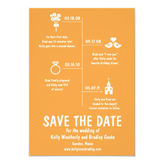 Relationship Timeline Save the Date 13 Cm X 18 Cm Invitation Card