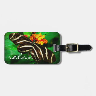 """Relax"" black butterfly photo luggage tag"