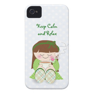 Relax! Cute Kawaii Girl Relaxing with Tea / Coffee iPhone 4 Case-Mate Case