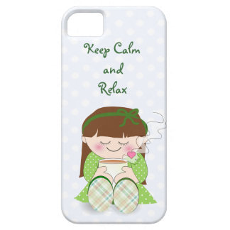 Relax! Cute Kawaii Girl Relaxing with Tea / Coffee iPhone 5 Case