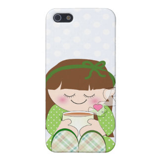 Relax! Cute Kawaii Girl Relaxing with Tea / Coffee iPhone 5 Cover