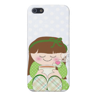 Relax! Cute Kawaii Girl Relaxing with Tea / Coffee Cover For iPhone 5