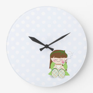 Relax! Cute Kawaii Girl Relaxing with Tea / Coffee Large Clock