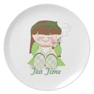 Relax! Cute Kawaii Girl Relaxing with Tea / Coffee Plate
