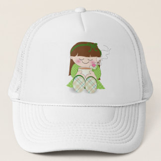 Relax! Cute Kawaii Girl Relaxing with Tea / Coffee Trucker Hat