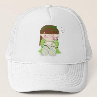 Relax! Cute Kawaii Girl Relaxing with Tea / Coffee Trucker Hat