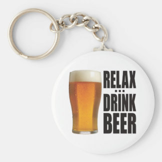 Relax Drink Beer Basic Round Button Key Ring