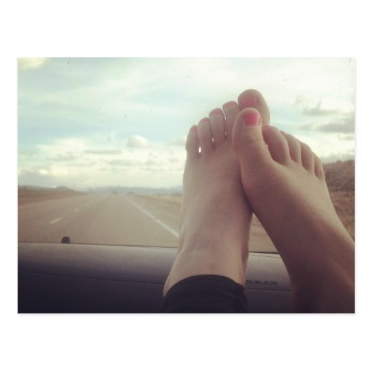 relax feet on the dashboard postcard
