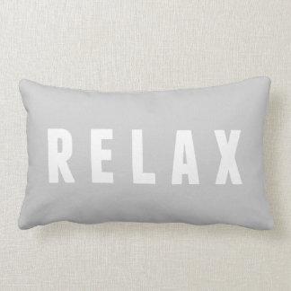 Relax Gray & White Modern Block Print Lumbar Cushion