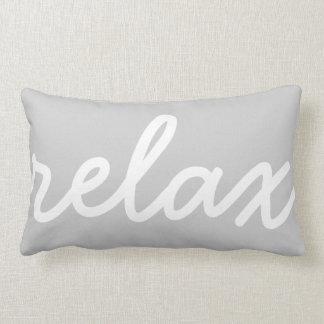 Relax Gray & White Script Lumbar Cushion