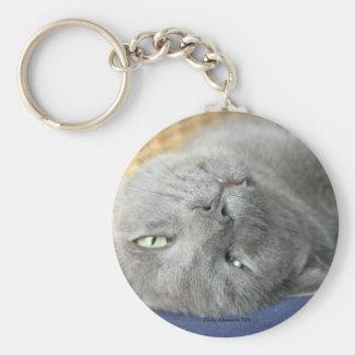 Relax! Grey Purring Cat Keychain