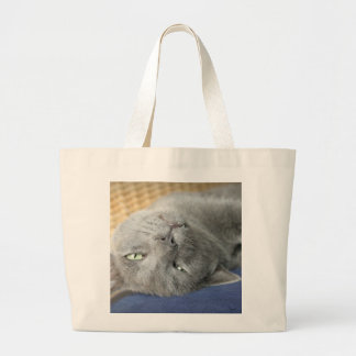Relax! Grey Purring Cat large Tote Bag