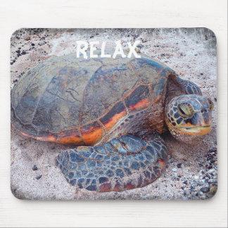 """""""Relax"""" Hawaii sea turtle close-up photo mousepad"""