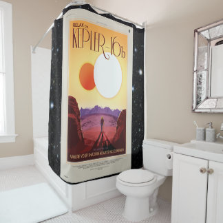 Relax on Kepler 16b holiday advert space tourism Shower Curtain