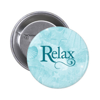 Relax on soothing seashells 6 cm round badge