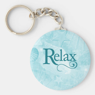 Relax on soothing seashells basic round button key ring