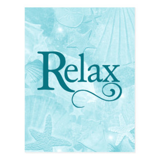 Relax on soothing seashells post card