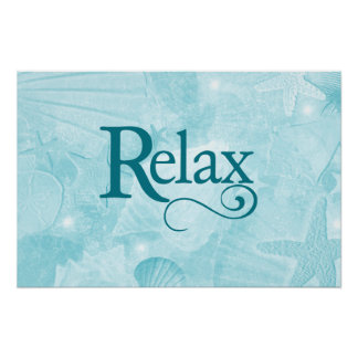 Relax on soothing seashells poster