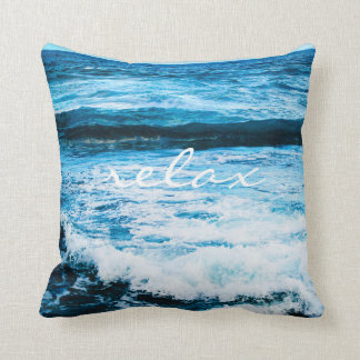 """""""Relax"""" Quote Hawaii Turquoise Ocean Waves Photo Cushion"""