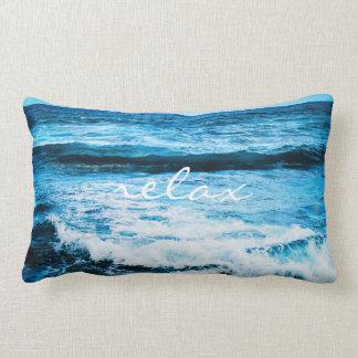 """Relax"" Quote Hawaii Turquoise Ocean Waves Photo Lumbar Cushion"