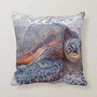 """Relax"" Quote Hawaiian Sea Turtle Close-up Photo Cushion"