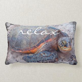 """Relax"" Quote Hawaiian Sea Turtle Close-up Photo Lumbar Cushion"