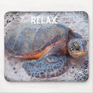 """Relax"" Quote Hawaiian Sea Turtle Close-up Photo Mouse Mat"